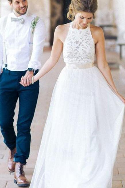 High Neck White Lace Long Sheath Wedding Dresses, Simple Design White Lace Wedding Party Dresses, Cheap Beach Wedding Gowns