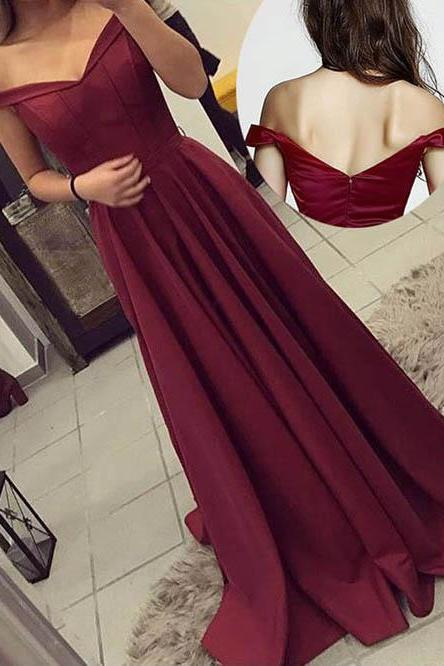 Off The Shoulder Burgundy Long Formal Dress, Cheap Prom Dress, Sexy Prom Dresses, V-neck Prom Dresses, Off-shoulder Evening Dresses, Simple Long Prom Dresses