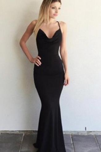 Mermaid Black Prom Dress, Scoop Criss-Cross Straps Prom Dress, Floor-length Prom Dress, Long Backless Prom Dresses, Cheap Prom Dresses